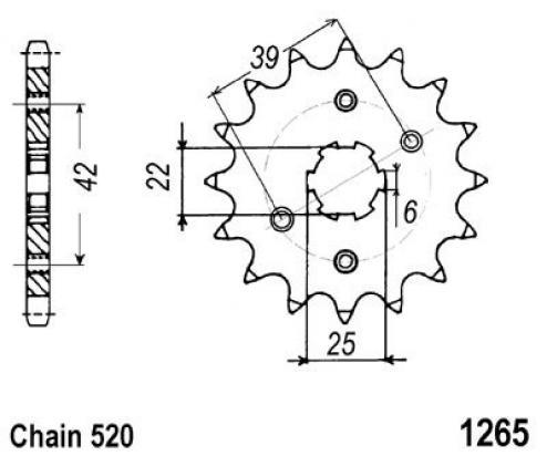 Honda XL 250 SA 80-81 Pignone 1 dente in Meno (Controllare Lunghezza Catena)