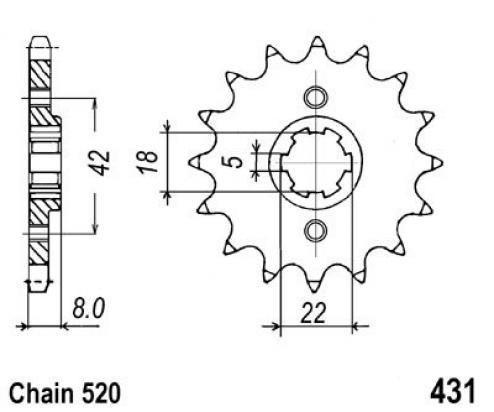Suzuki RM 250 N 79 Pignone 1 dente in più (Controllare Lunghezza Catena)