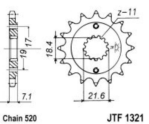 Honda CBR 300 RJ (Non-ABS) 18 Pignone 1 dente in meno - JT (Controllare Lunghezza Catena)