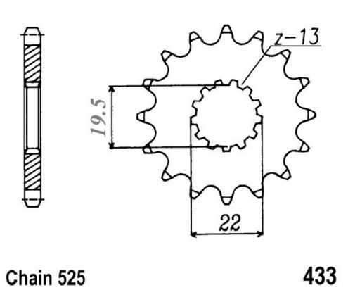 Suzuki GSF 400 V/VS/V-V/VZ-V Bandit (GK7AA) 95-97 Sprocket Front Plus 2 Teeth - JT (Check Chain Length)