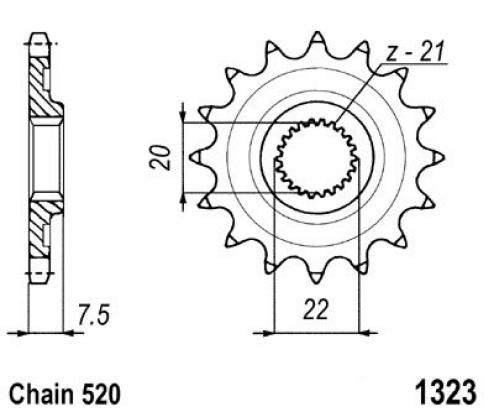 Honda CR 125 R7 07 Sprocket Front Plus 1 Tooth - Pattern (Check Chain Length)