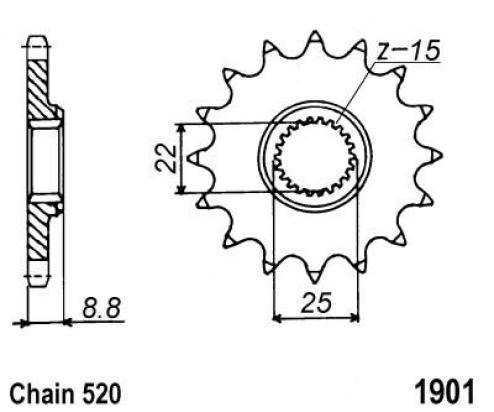 KTM MX 125 88 Přední kolečko JT - větší o 1 zub