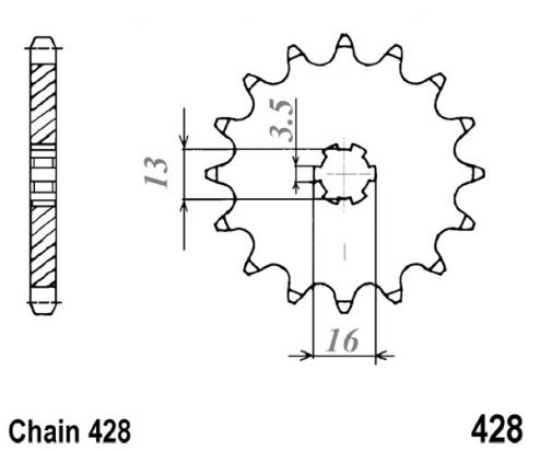 Suzuki DS 80 N/P/R 92-94 Sprocket Front Plus 2 Teeth - Pattern (Check Chain Length)