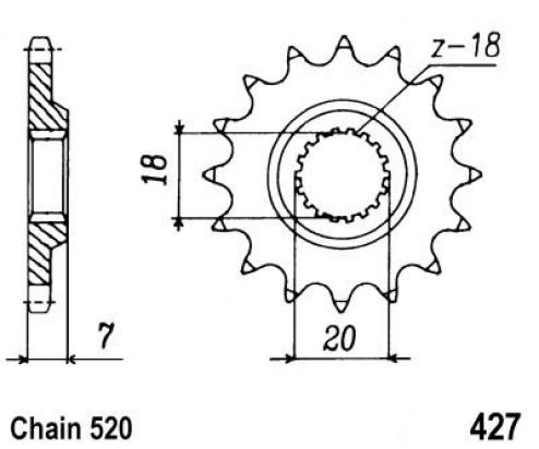 Suzuki RM 125 W 98 Sprocket Front Plus 1 Tooth - Pattern (Check Chain Length)