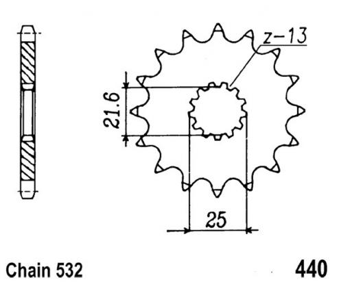 Suzuki GSXR 1100 WP (GU75C) 93 Sprocket Front Less 1 Tooth - JT (Check Chain Length)