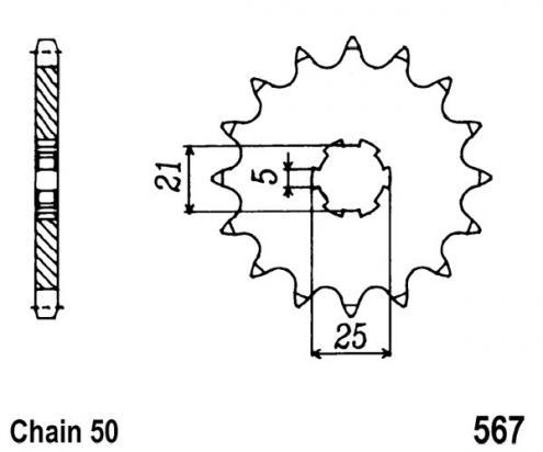 Yamaha RD 400 DX 76-77 Pignone 1 dente in più (Controllare Lunghezza Catena)