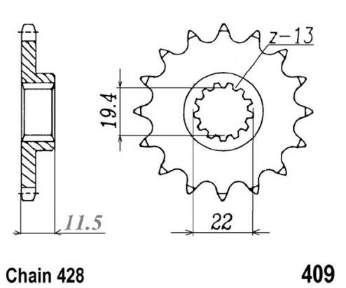 Kawasaki KLX 125 L (B1/B2/B3) 03-05 Sprocket Front Plus 2 Teeth - JT (Check Chain Length)