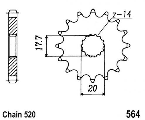 Yamaha YZ 125 A 90 Pignone 2 denti in più (Controllare Lunghezza Catena)