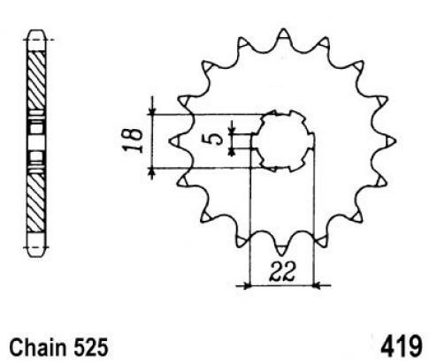 Suzuki GT 250 B 77 Sprocket Front Plus 2 Teeth - Pattern (Check Chain Length)