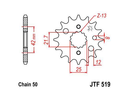 Kawasaki ZX9R (ZX 900 E1/E2) 00-01 Sprocket Front Plus 1 Tooth - JT (Check Chain Length)
