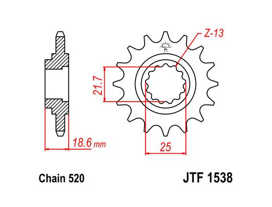 Kawasaki Z 800 A (ZR800) 14 Sprocket Front Less 1 Tooth - JT (Check Chain Length)