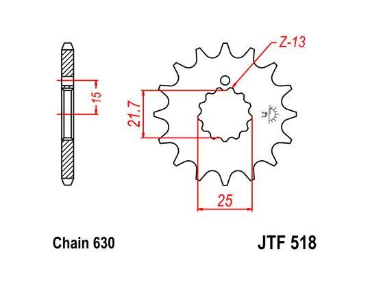 Suzuki GS 1000 ET Chain Drive 81 Pignone 2 denti in meno - JT (Controllare Lunghezza Catena)