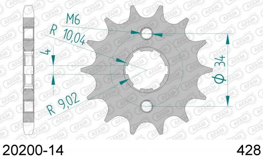 Sym XS 125 K 14 Přední kolečko Afam - menší o 1 zub