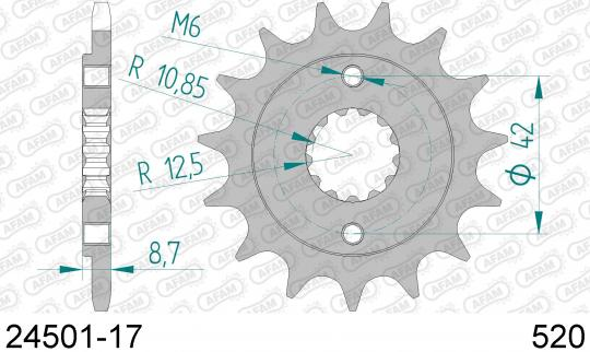 Kawasaki BJ 250 F1/F2 Estrella (250 TR) 02-03 Sprocket Front Plus 2 Tooth - Afam (Check Chain Length)