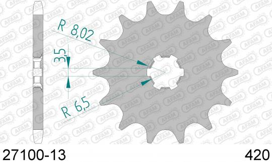 Suzuki LT 50 E/F/G/H/J/K/L/X/Y/K1/K2/K3/K4/K5 84-05 Sprocket Front Plus 2 Tooth - Afam (Check Chain Length)