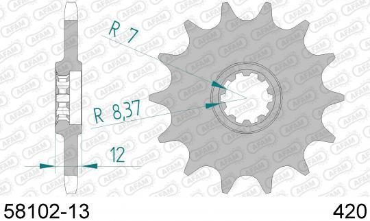 Roxon Duel TT 50cc 06-07 Pignon Sortie de Boite - Afam