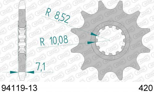 Rieju SMX 50 PRO Supermotard/Top 04-07 Přední kolečko Afam - větší o 2 zuby