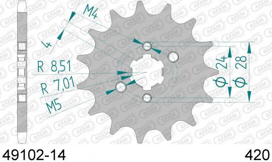 Derbi Senda X Race 50 R 10 Pignone Afam - 3 Denti in Piu