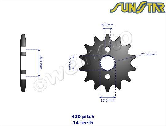 Honda CR 85 R3/R4 03-04 SunStar Sprocket Front Less 1 Tooth