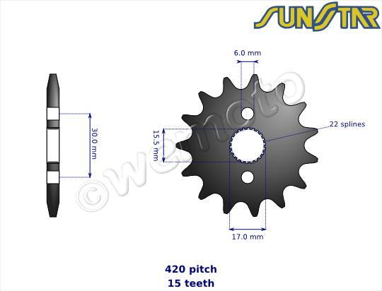 Honda CRF 50 F4/F5 04-05 SunStar Sprocket Front Plus 1 Tooth