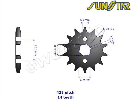 Honda XL 100 SB 82 SunStar Sprocket Front Less 1 Tooth