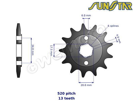 Honda CR 125 RZ 79 SunStar Sprocket Front