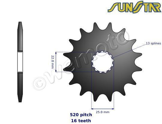 Yamaha TZR 250 (3MA1) (Japan) 89 SunStar přední kolečko - větší o 2 zuby