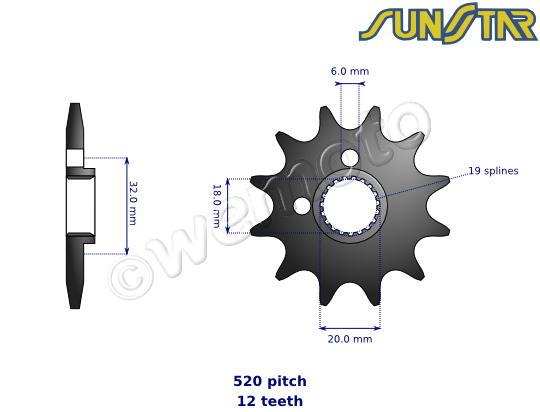 Honda CR 125 R3 03 SunStar Sprocket Front Less 1 Tooth