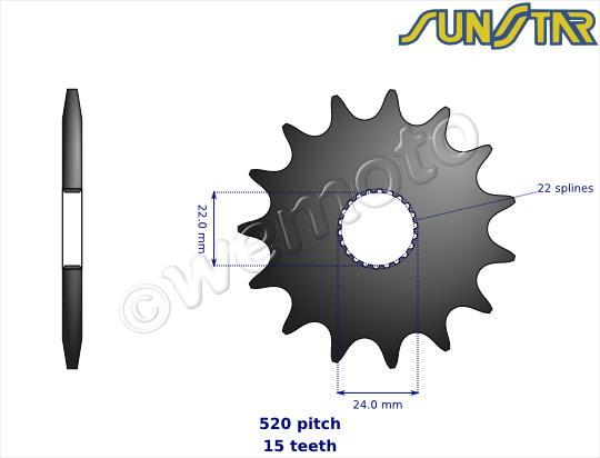 Aprilia AF1 125 Sport Pro 92-93 SunStar Sprocket Front Less 1 Tooth