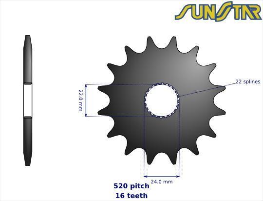 Aprilia AF1 125 Futura 90-93 SunStar Sprocket Front