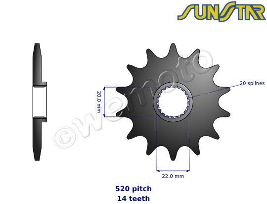 Kawasaki KX 250 F (ZFF) 15 SunStar Sprocket Front Plus 1 Tooth