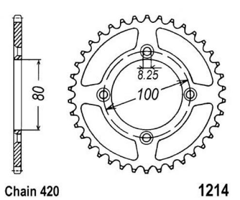 Honda XR 80 R W/X/Y 98-00 Sprocket Rear Less 1 Tooth - JT (Check Chain Length)