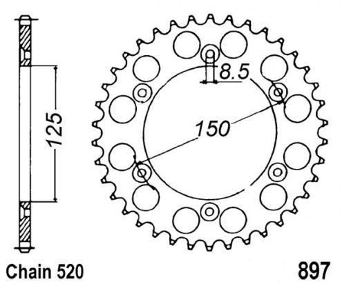 KTM SX 250 (Standard forks) 94-95 Zadní rozeta hliníková - větší o 1 zub