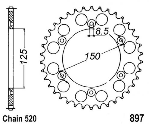 KTM EXC 250 12 Zadní rozeta hliníková - menší o 3 zuby