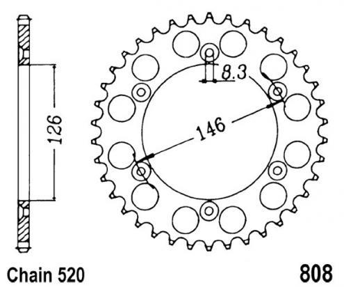 Suzuki RM 125 V 97 Sprocket Rear - Alloy - Plus 2 teeth (Check Chain Length)