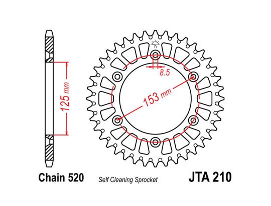 Honda CR 125 RZ 79 Sprocket Rear - Alloy - Plus 2 teeth (Check Chain Length)