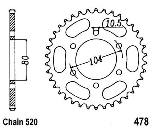 Kawasaki GPZ 550 A1-A3 (ZX 550 A1-A3) 84-86 Sprocket Rear Plus 2 Teeth - JT (Check Chain Length)