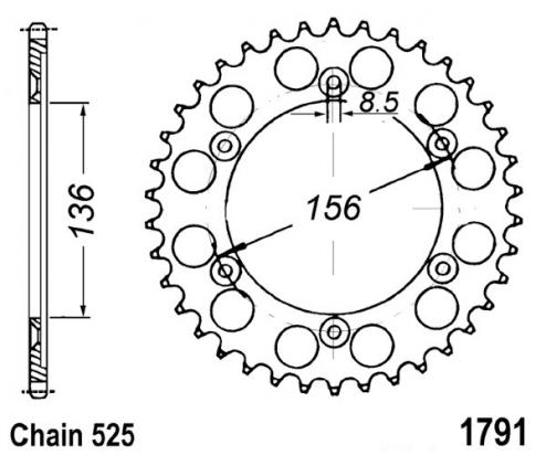 Suzuki DR 650 SE K4/K5/K6/K7/K8/K9/L0/L1/L2 (SP46) (US Market) 04-11 Sprocket Rear Plus 1 Tooth - JT (Check Chain Length)