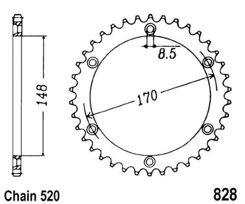 Suzuki DR 800 SM/SN/SP/SR/SS Big (SR43)  91-95 Sprocket Rear Plus 1 Tooth - JT (Check Chain Length)