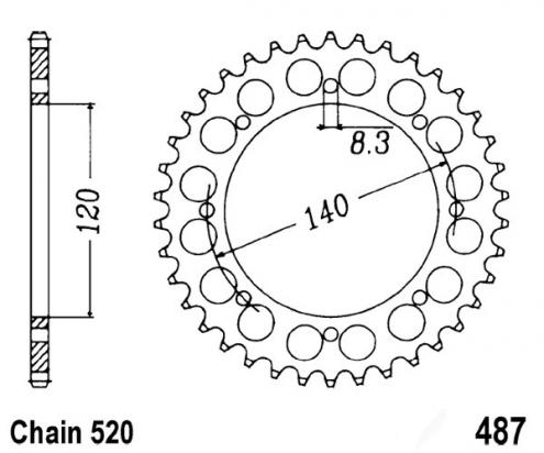 Kawasaki KLE 500 A1 91 Sprocket Rear Plus 1 Tooth - JT (Check Chain Length)