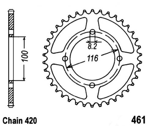 Kawasaki KX 85-I CHF 17 Sprocket Rear Plus 2 Teeth - Pattern (Check Chain Length)