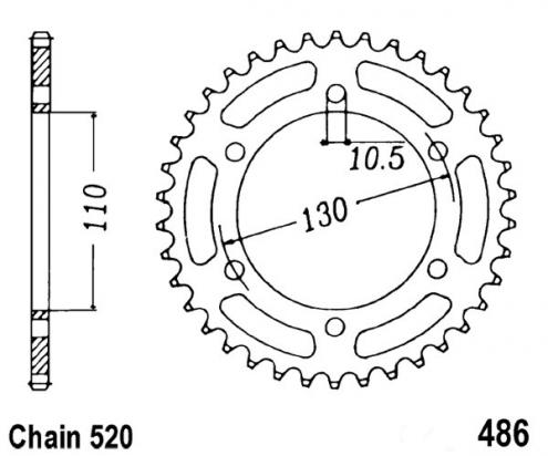 Kawasaki GPZ 500 S (EX 500 E1) (European Market) 94 Sprocket Rear Plus 1 Tooth - JT (Check Chain Length)