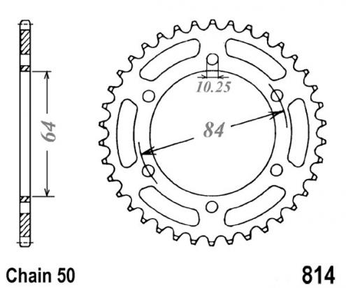 Suzuki GSX 400 ET/EX (German Market) 80-81 Sprocket Rear Plus 1 Tooth - Pattern (Check Chain Length)