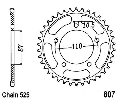Suzuki GSF 650 SL0 Bandit 10 Sprocket Rear Less 1 Tooth - JT (Check Chain Length)