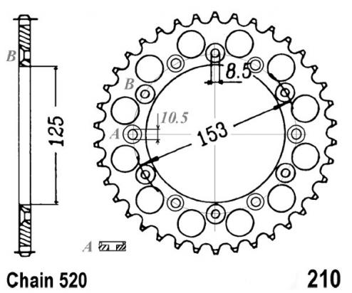 Honda CR 125 RZ 79 Sprocket Rear Plus 1 Tooth - Pattern (Check Chain Length)
