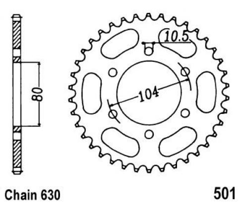 Kawasaki Z1000 (KZ1000) P1 Police (US Market) 82 Sprocket Rear Plus 1 Tooth - JT (Check Chain Length)