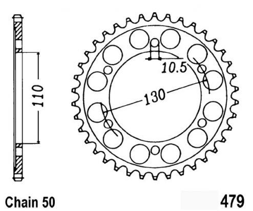 Suzuki GSXR 1000 L5 15 Sprocket Rear - Pattern