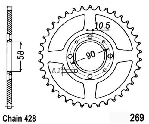 Daelim VL 125 Daystar (Rear Disc) 14 Zadní rozeta JT