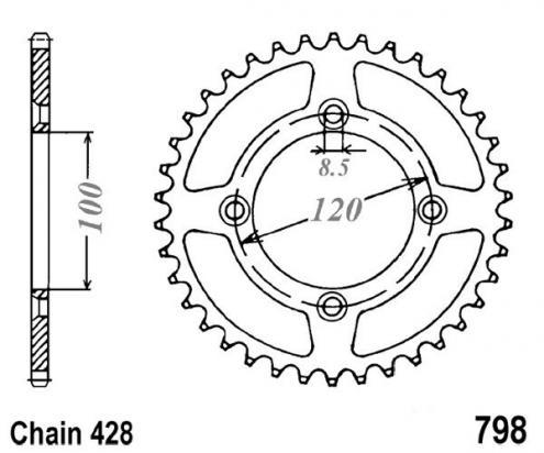Suzuki RM 85 K4 04 Sprocket Rear Plus 3 Teeth - JT (Check Chain Length)