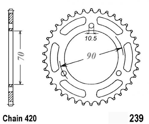 Honda CR 80 R2F 85 Sprocket Rear - Pattern